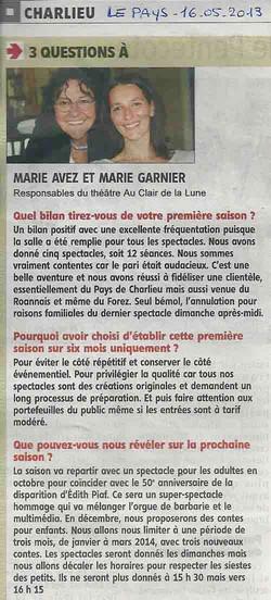 """""""Le Pays Roannais"""" 16/05/13"""