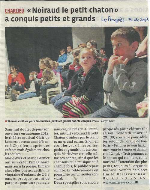 """""""Le Progrès"""" 09/04/13"""