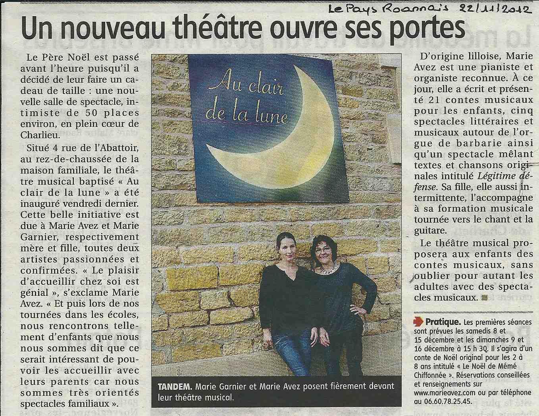 """""""Le Pays Roannais"""" 22/11/12"""