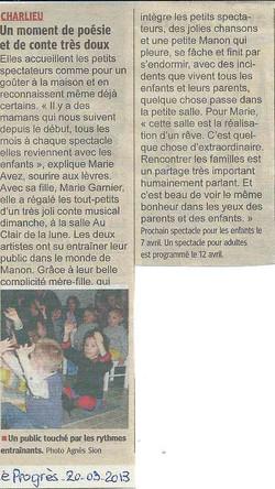 """""""Le Progrès"""" 20/03/13"""
