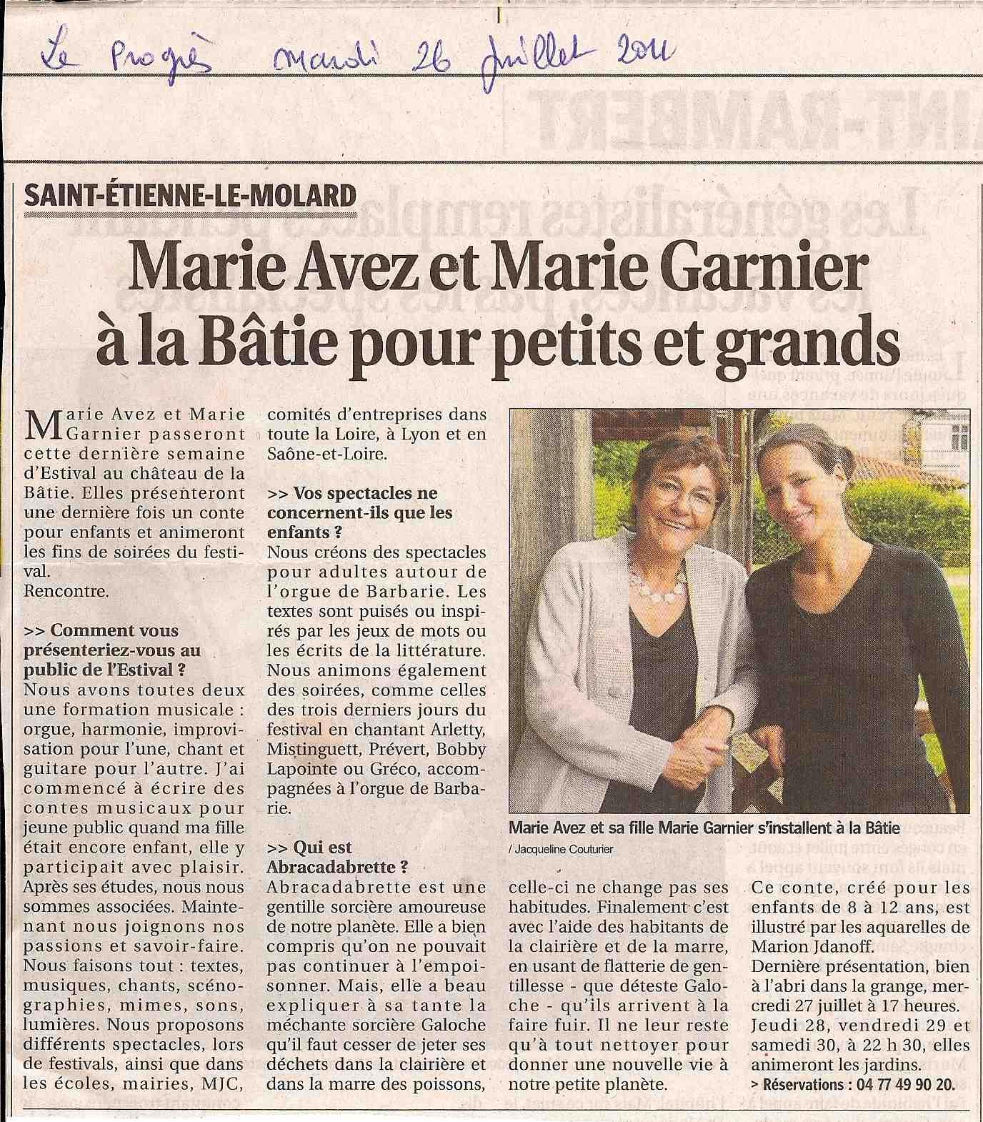 """""""Le Progrès"""" 26/07/11"""