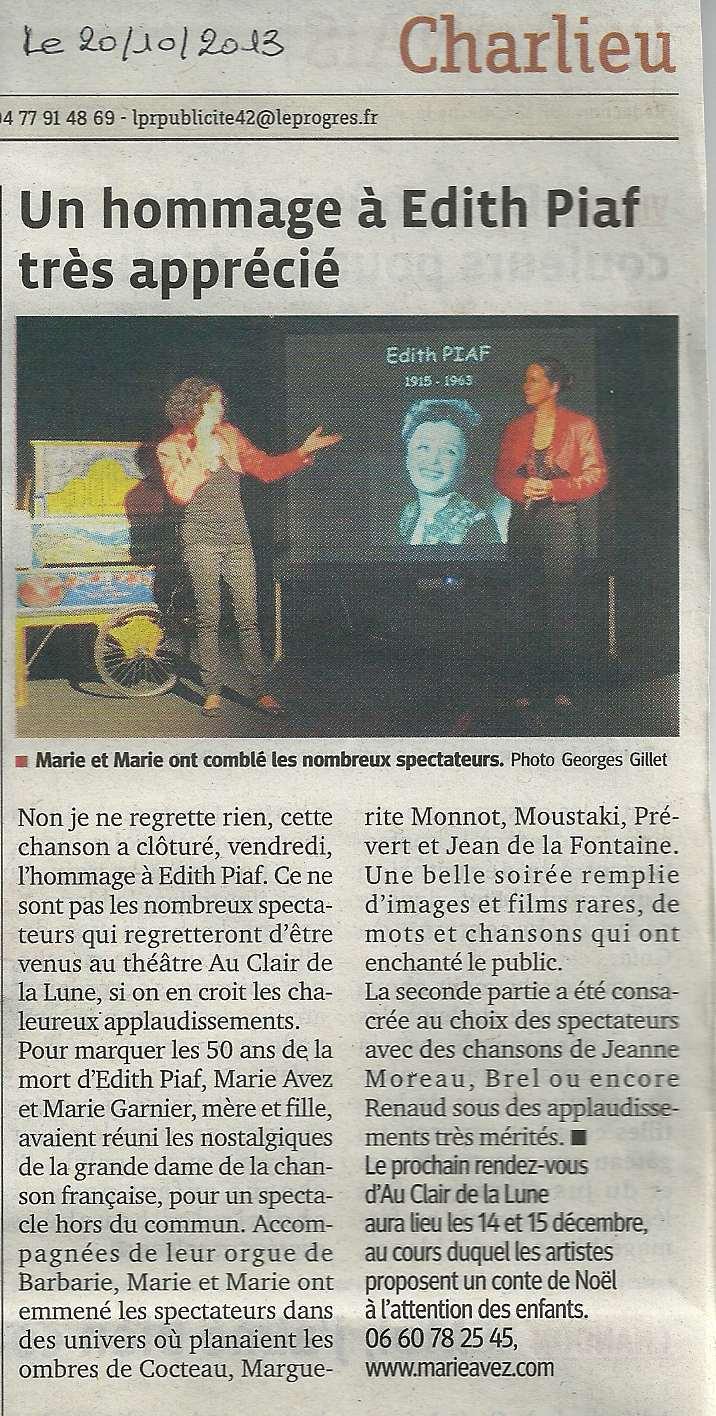 """""""Le Progrès"""" 20/10/13"""