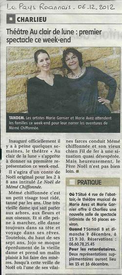 """""""Le Pays Roannais"""" 06/12/12"""