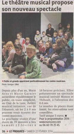 """""""Le Progrès"""" 22/02/14"""