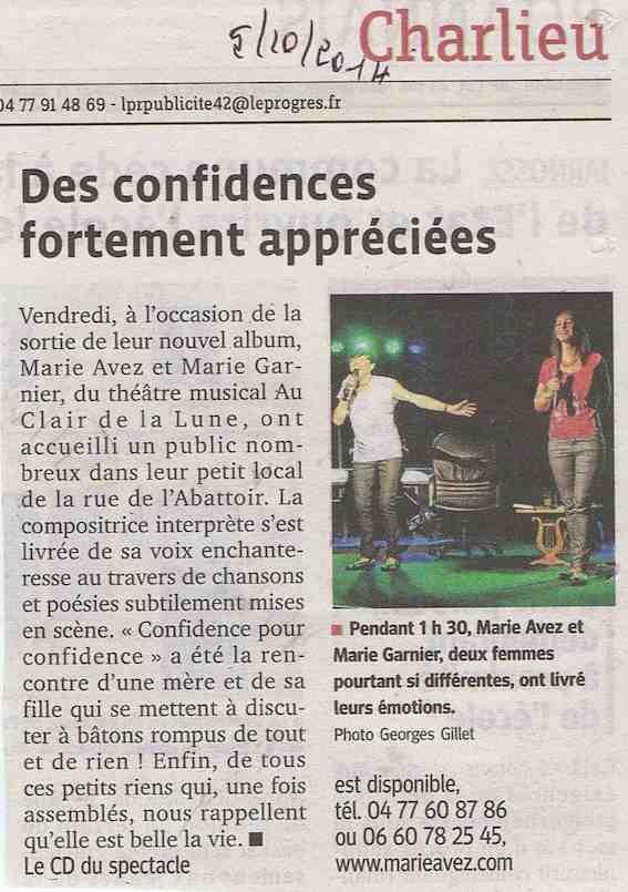 """""""Le Progrès"""" 05/10/14"""