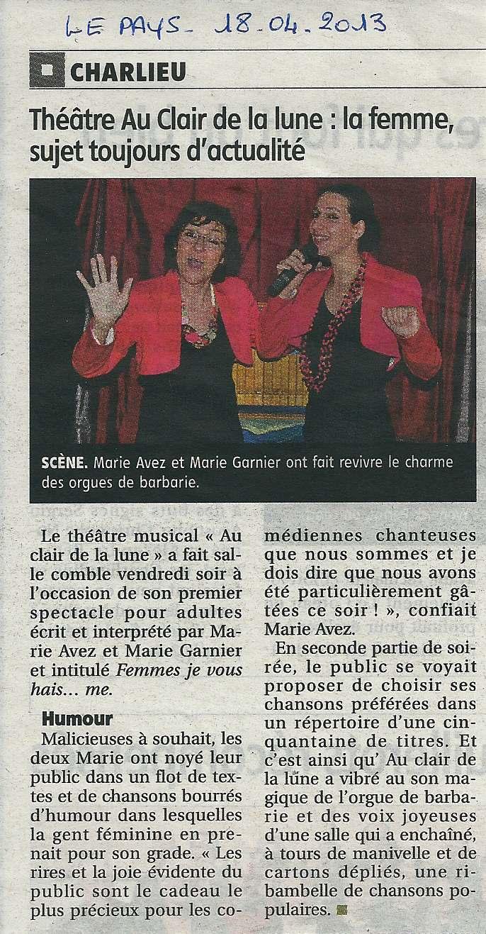"""""""Le Pays Roannais"""" 18/04/13"""