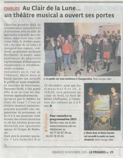 """""""Le Progrès"""" 18/11/12"""