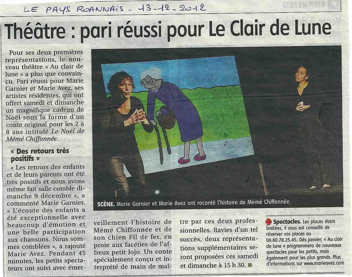 """""""Le Pays Roannais"""" 13/12/12"""