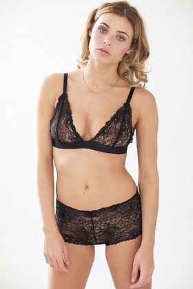 Floral lace soft cup triangle bra - set