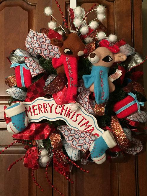 Rudolph and Clarice Christmas Wreath