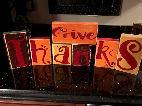 Wood Block Set  Jingle Bells Give Thanks