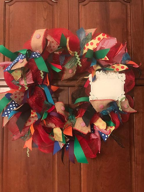 Teacher Mesh and Burlap Ribbon Wreath