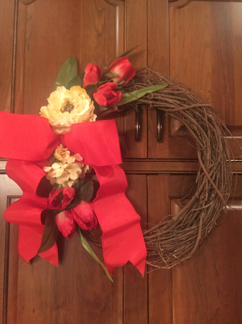 """18"""" Spring/Summer Wreath with tulips and burlap bow"""