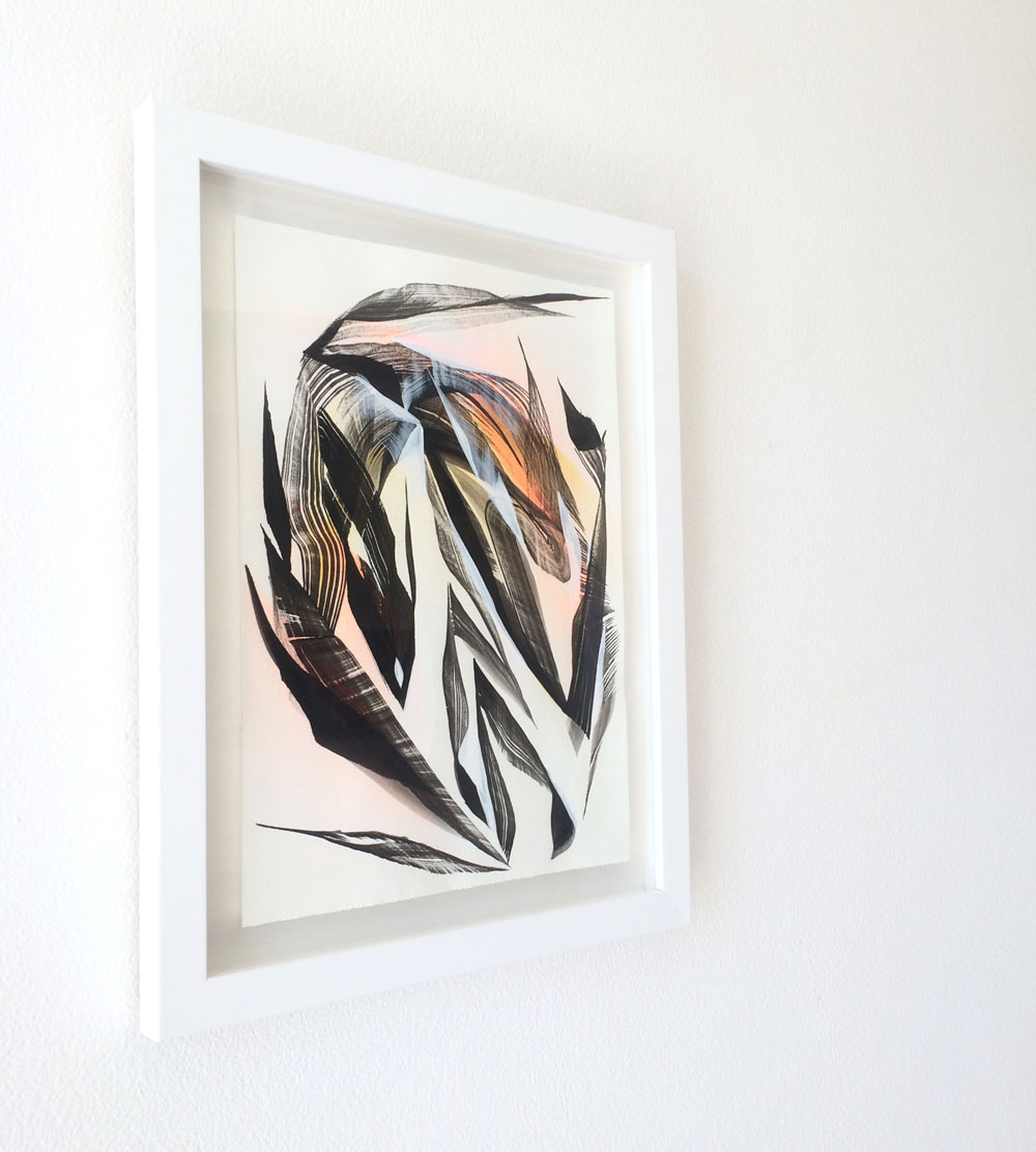 Mik Shida Artwork on paper, floated in frame.