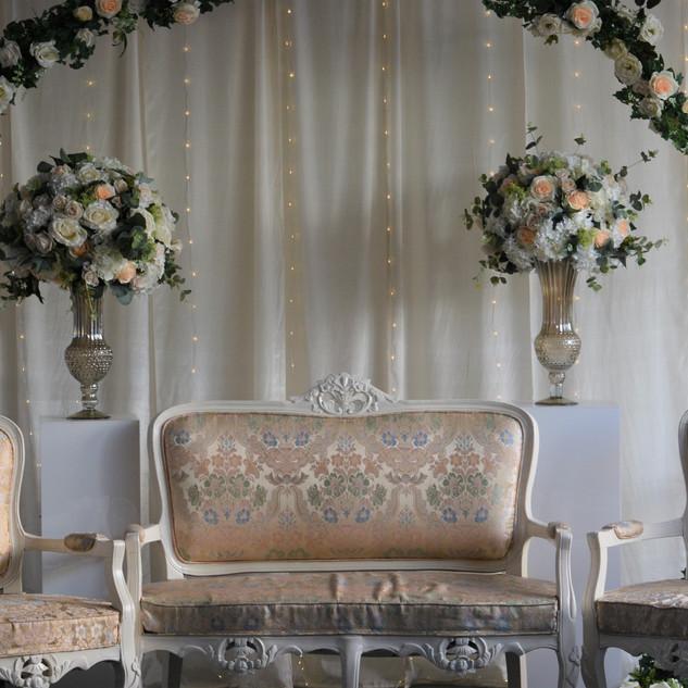 Cream + White Ceremony Arch Stage