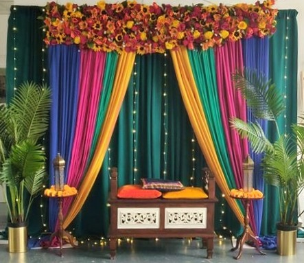 Complete Mehndi Backdrop Stage