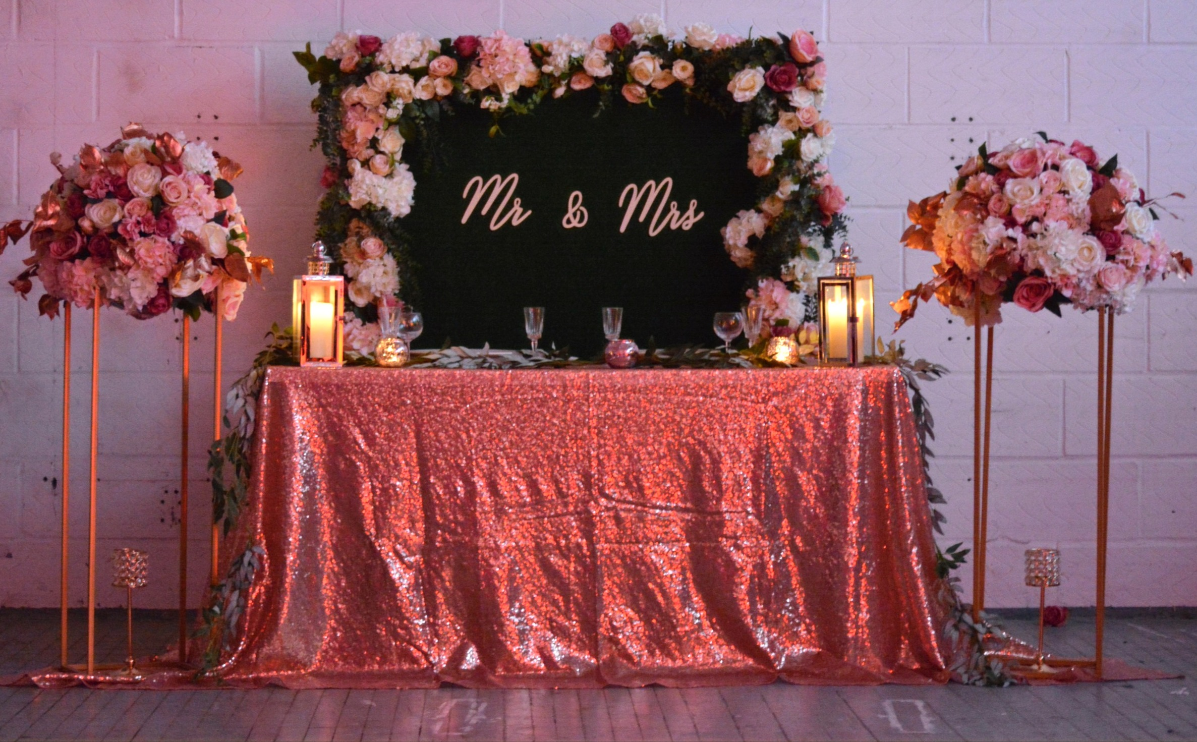 Stunning Mr & Mrs Backdrop & Head Table Decor