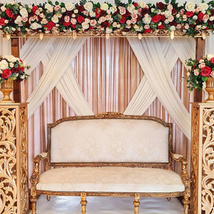 Red + Gold Floral Arch Stage