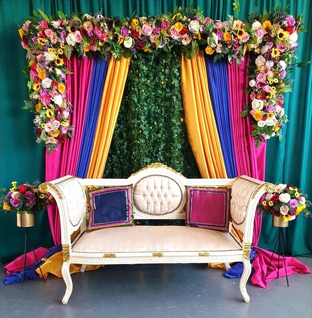 Contemporary Mehndi Arch Backdrop Stage