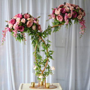 Enchanted Double Floral Arrangement gold centrepiece with Luscious Greenery