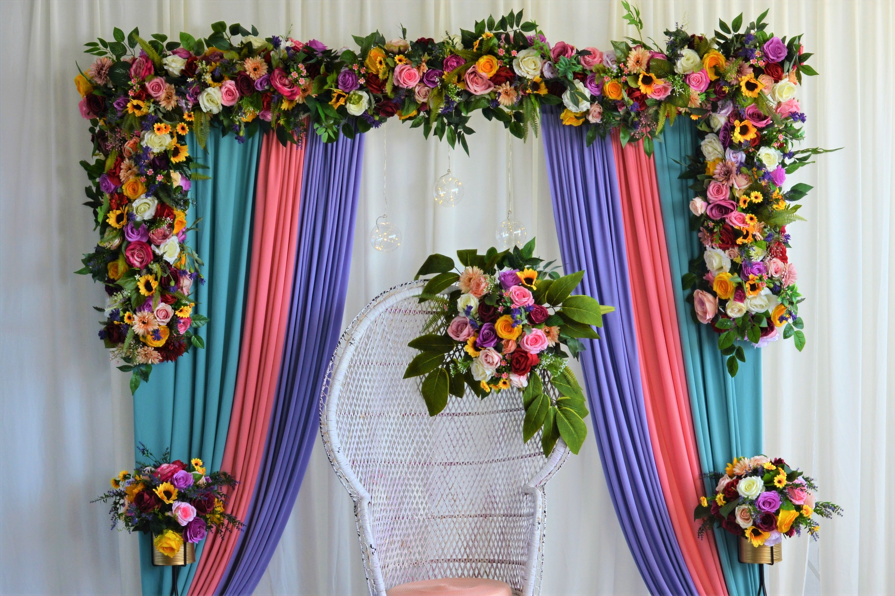 Pastel Floral Mehndi Arch Backdrop Stage