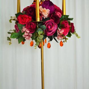 Antique Gold Candelabra with Floral Arrangement