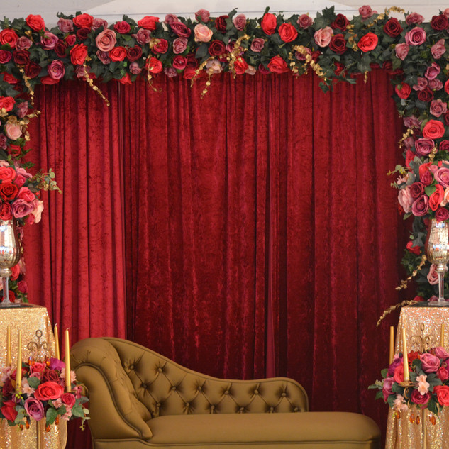 Romantic Floral Arch Red Stage