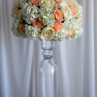 Peaches & Cream Pomander on Trumpet Vase