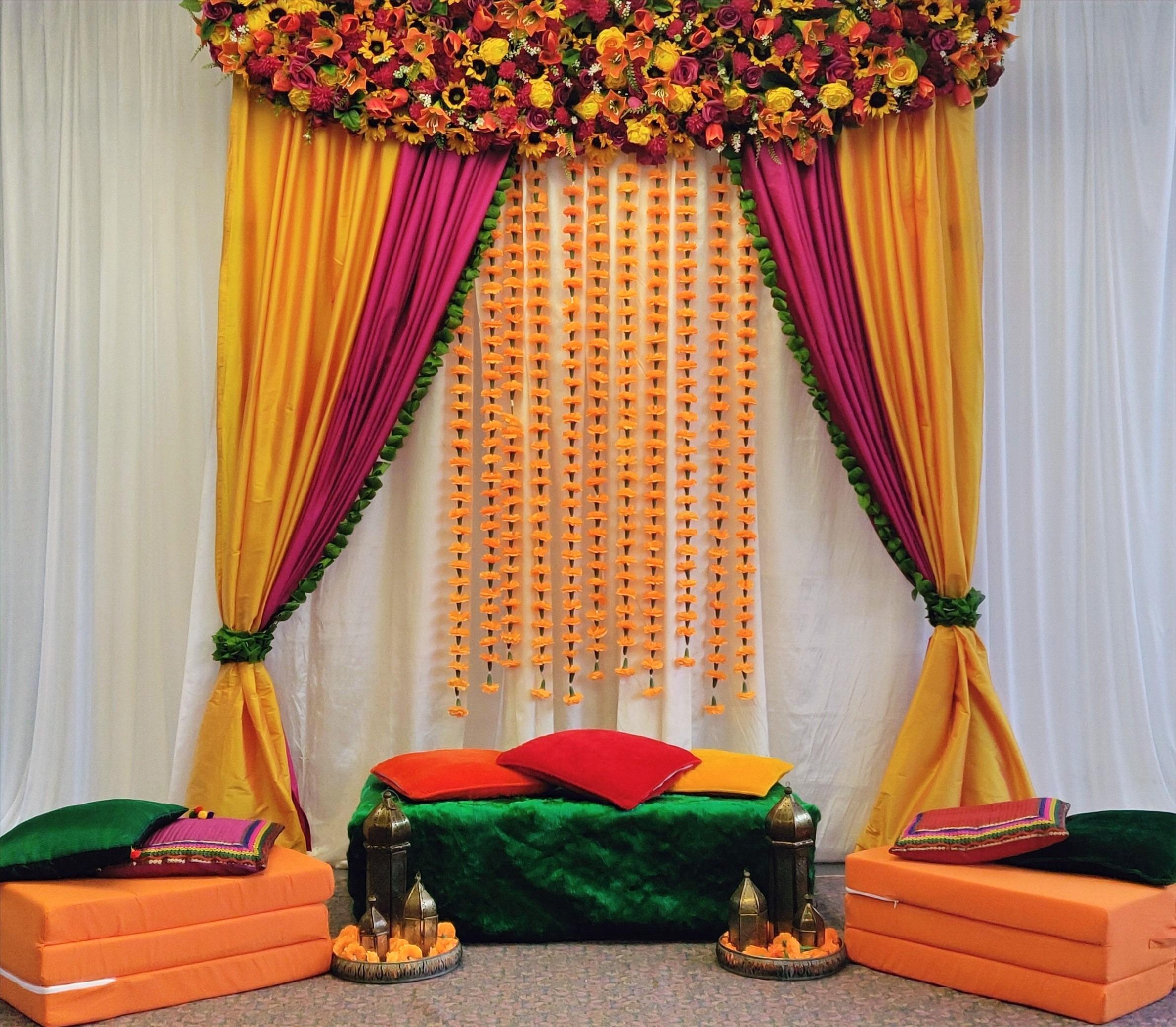 Floral Mehndi Backdrop Stage