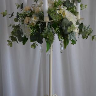 ivory Candelbra with Foliage Arrangement