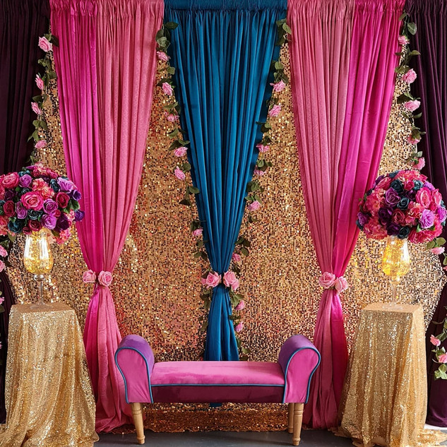 Quirky Mehndi Backdrop Stage