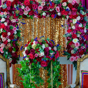 Vintage + Contemporary Mehndi Stage with FloralSelfie Frame