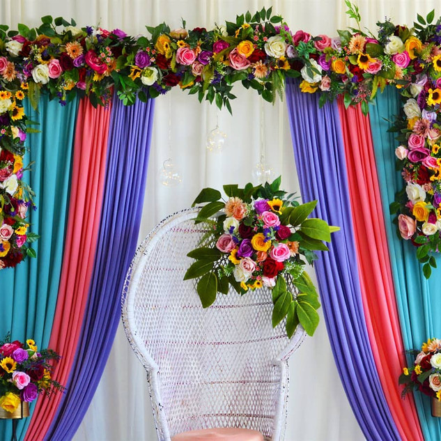 BoHo Pastel Passion Mehndi Floral Backdrop with Seating