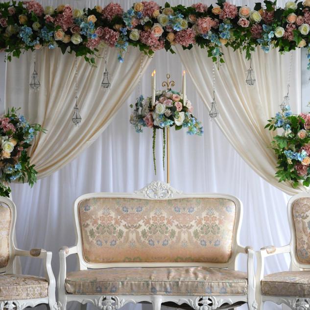 Pastel Floral Arch Garden Theme Stage