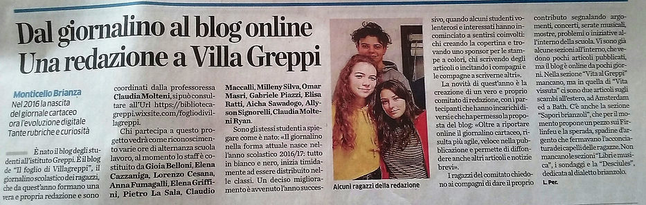 Articolo dal Corriere di Lecco