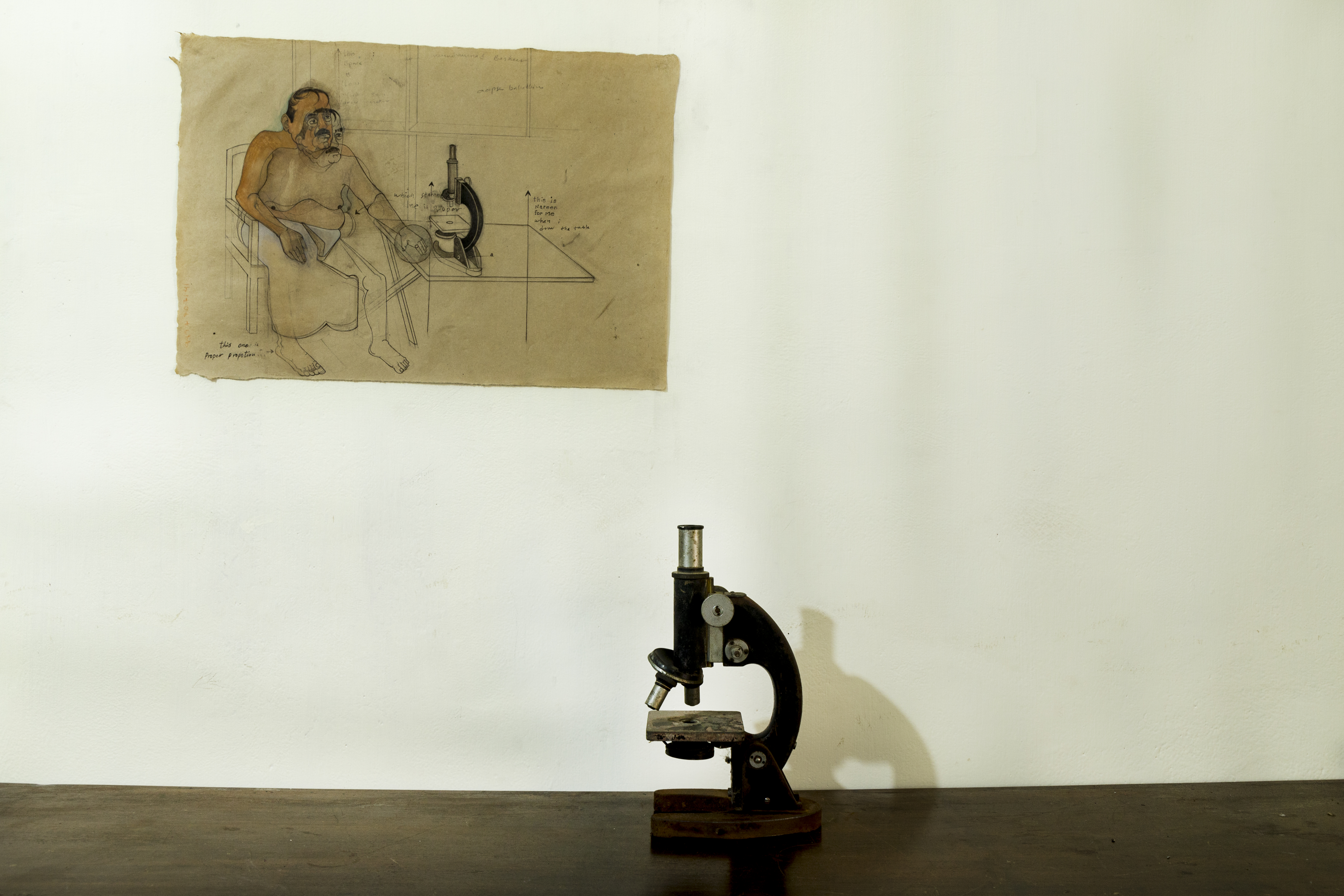 Display of man with microscope