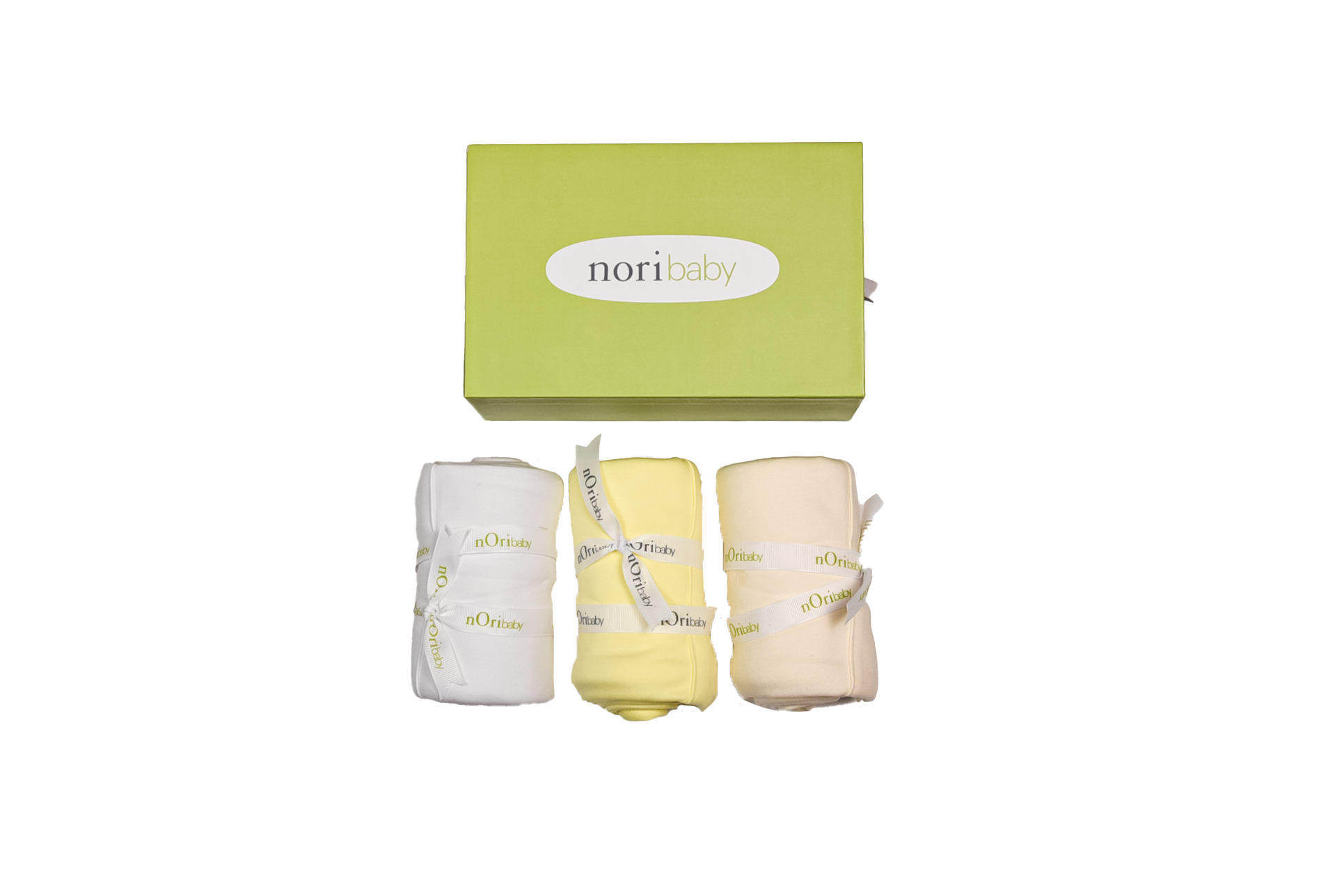Gift set of 3 PIMA Cotton blankets. Yellow, white and beige. - Ecart