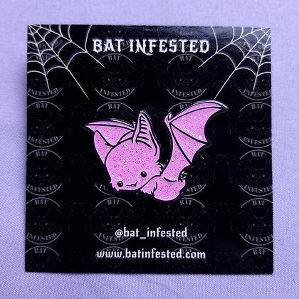 Pink Glitter Bat Enamel Pin
