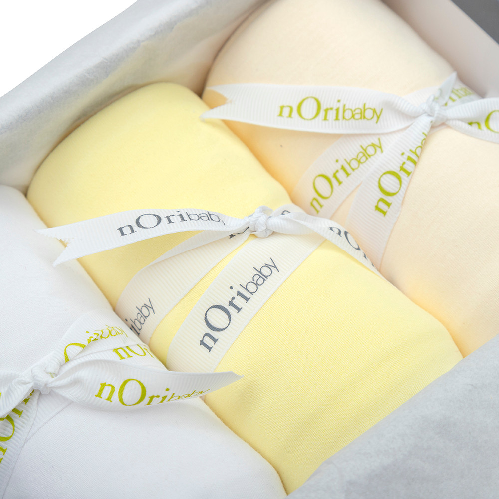Gift set of 3 PIMA Cotton blankets. Yellow, white and beige.