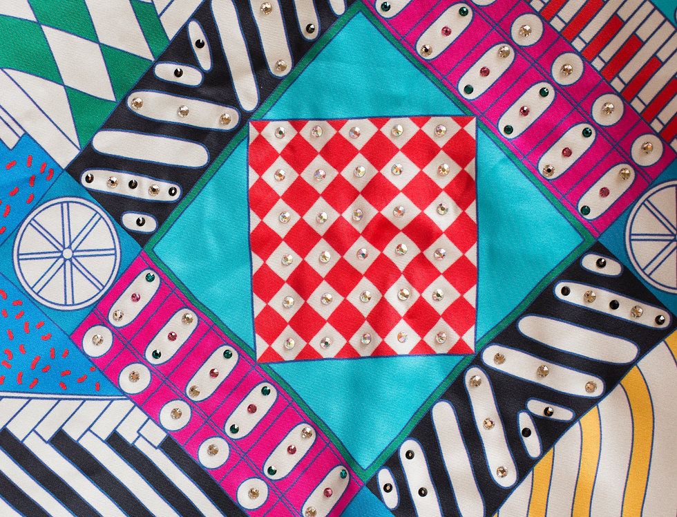 Multishapes inspired silk scarf
