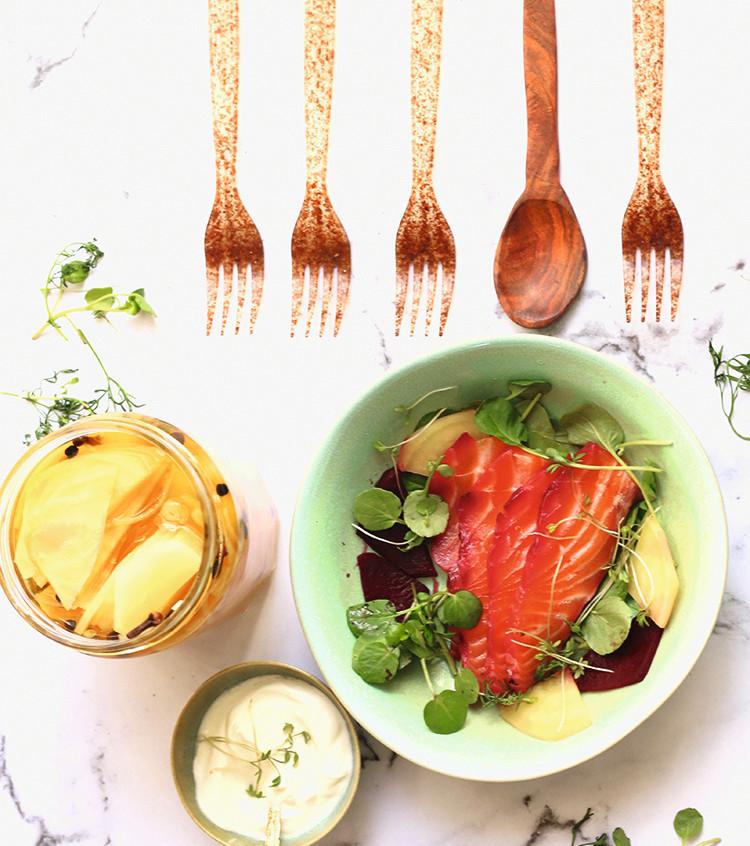 Bietensalade met zalm