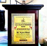 K.D.K College of Engg. AWARDED FOR MOTIVATIONAL SPEECH