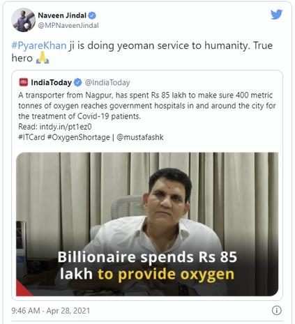Shri Navin Jindal Tweets on Pyare Khan