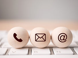 Wood sphere symbol telephone, mail, addr