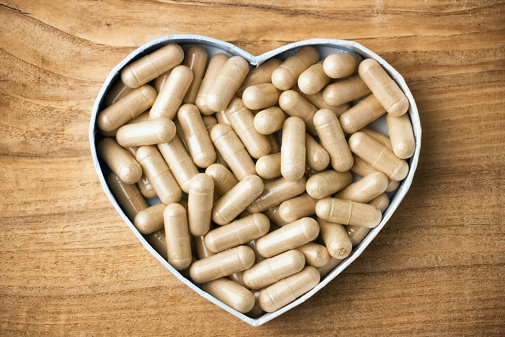 Heart shaped container of encapsulated placentas
