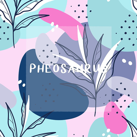 - Abstract Leaves Blue -