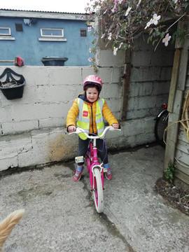 Robyn learned to cycle her bicycle durin