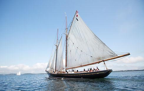 The Bluenose II sails off the coast of L