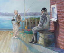 .The Fisherman & the Tourist oil on canvas 18 x 24