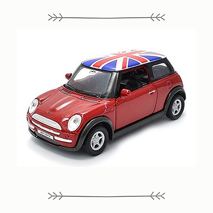 Red Mini Cooper with Union Jack Roof